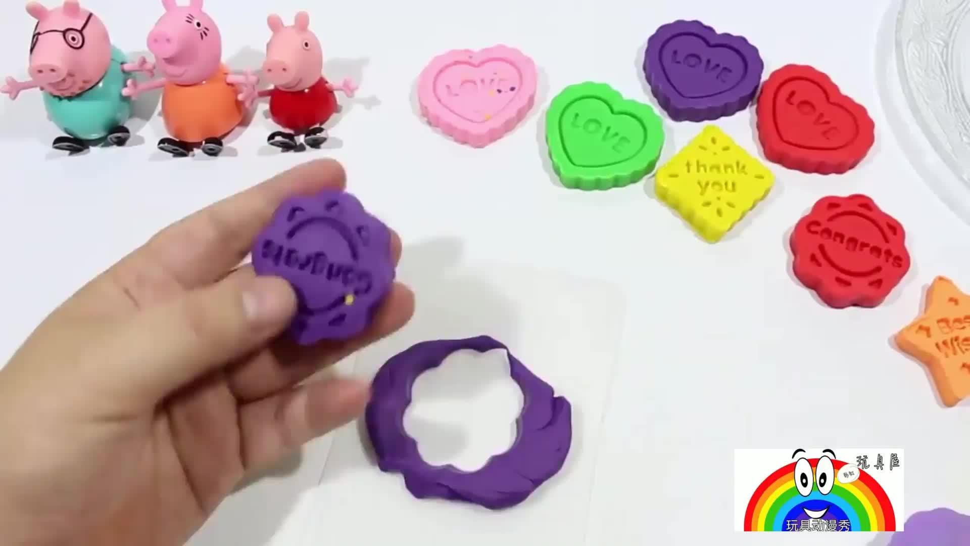 小猪佩奇一家用橡皮泥制作彩色美味点心 彩虹玩具屋-佩奇棉花糖故事