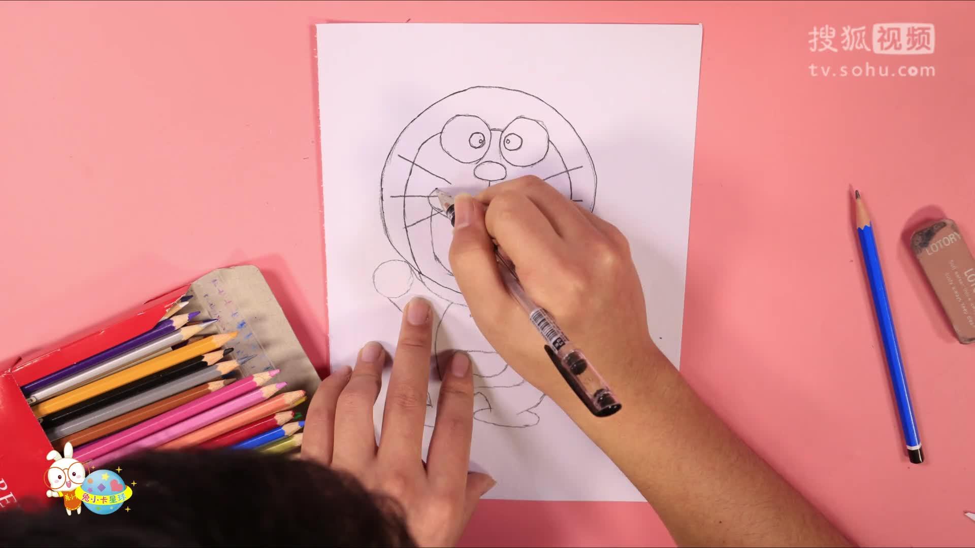 儿童简笔画教程哆啦a梦画画叮当猫亲子绘画宝宝画画简笔画 【小卡.