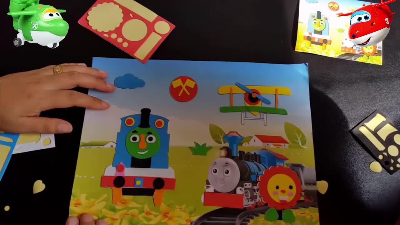 3453奥特曼乐迪亲子儿童手工制作托马斯小火车小猪佩奇立体贴画