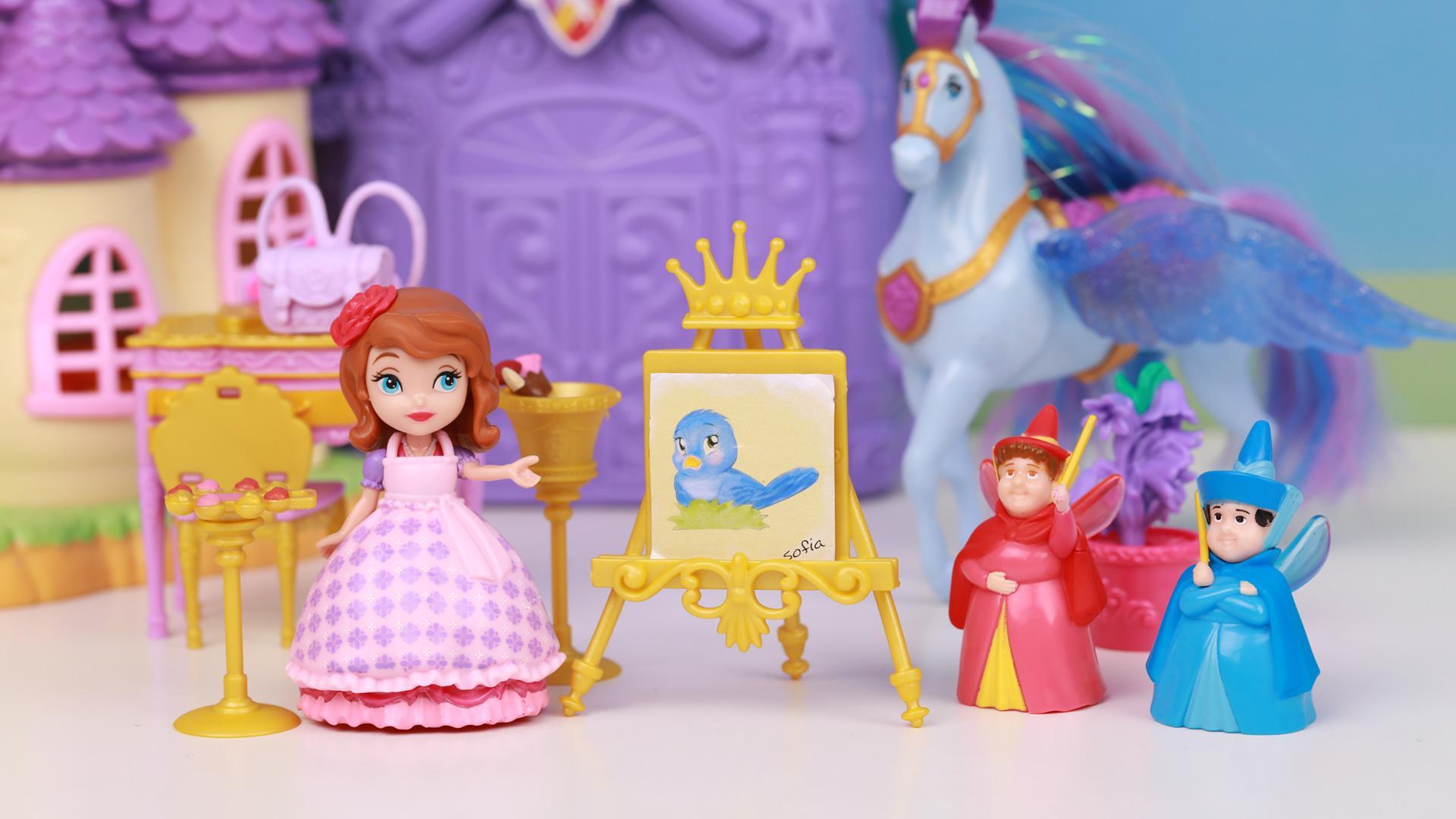 小公主苏菲亚的皇家绘画课玩具开箱 趣盒子迪士尼公主玩具大全-.