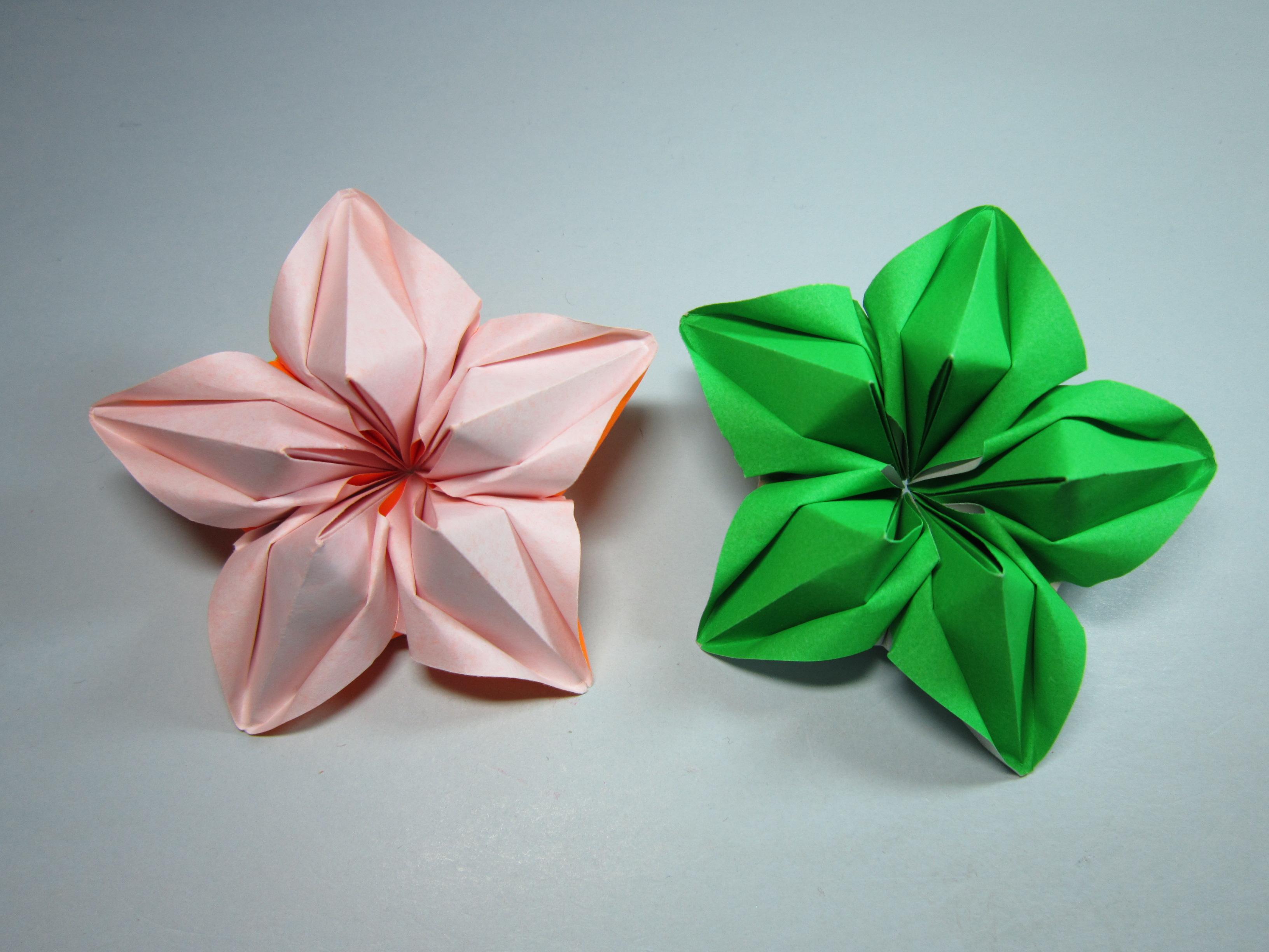 儿童手工折纸杨桃花,简单美丽杨桃花的折法教程-手工折纸大全 手工.