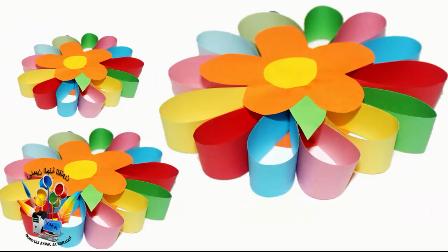 幼儿手工diy,用纸条制作一个七色花装饰