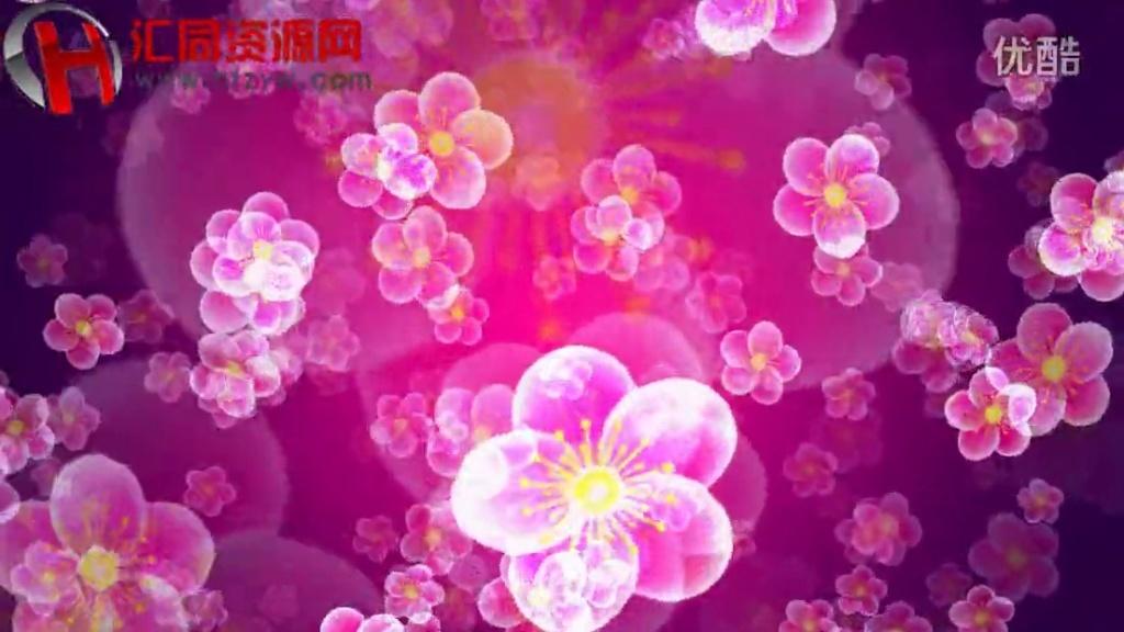 唯美粉色桃花晚会舞台led背景视频素材汇同资源网