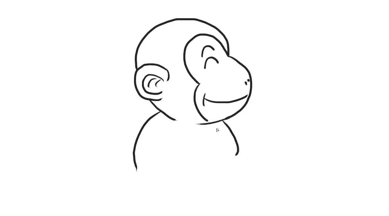 可爱的猴子儿童亲子简笔画-绘心儿童绘画教程-绘心儿童