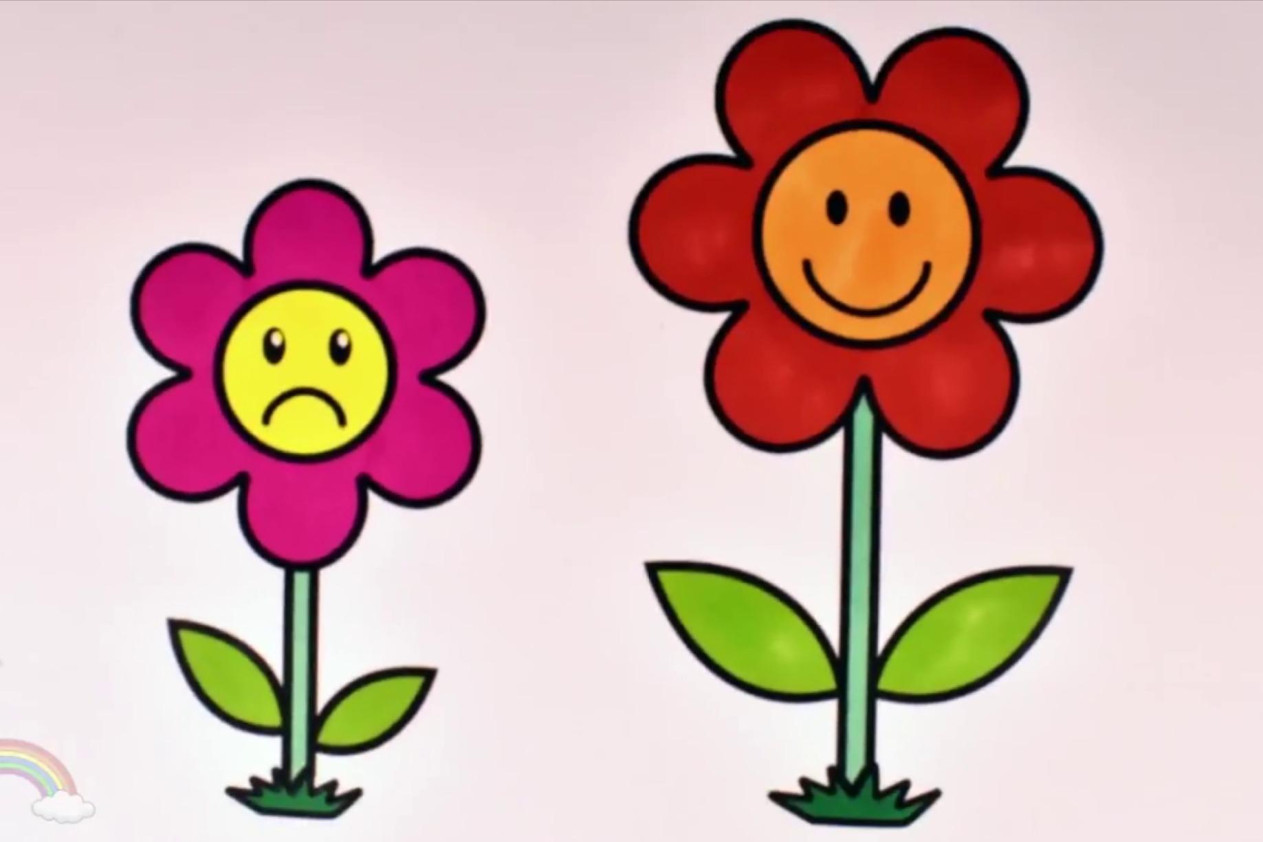 幼儿简笔画画法,亲子互动画花朵的开心和难过的表情并涂上颜色