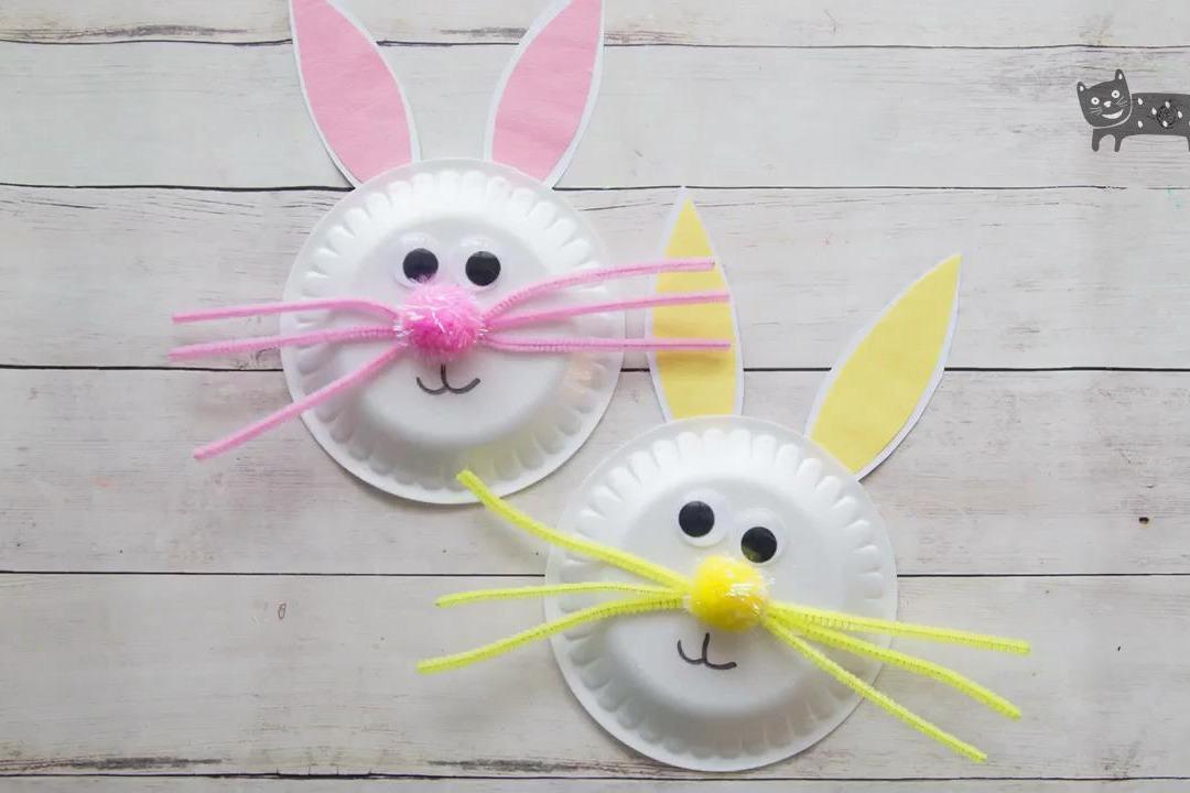 幼儿园手工:纸盘小兔子,超级简单!