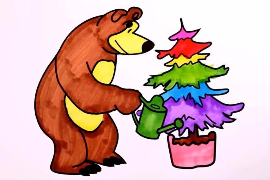 幼儿园小朋友绘画视频教程,教小朋友绘制小熊浇花