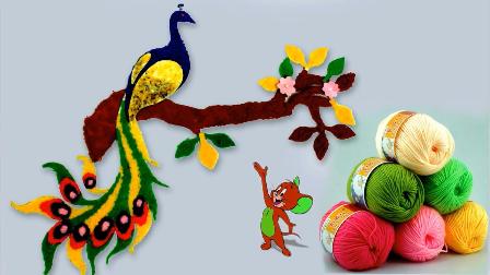 纯手工制作孔雀,看似复杂,实则简单,只需要毛线,硬纸板和胶水