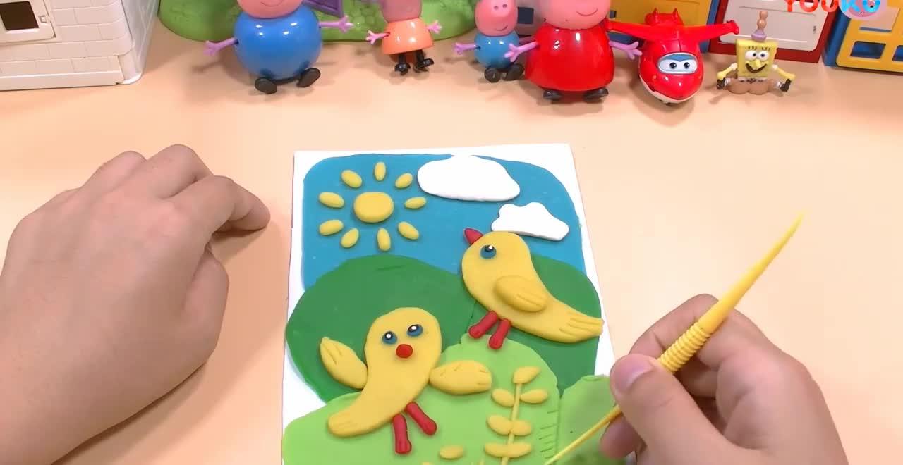 小猪佩奇和超级飞侠海绵宝宝diy手工制作彩泥小鸡图画