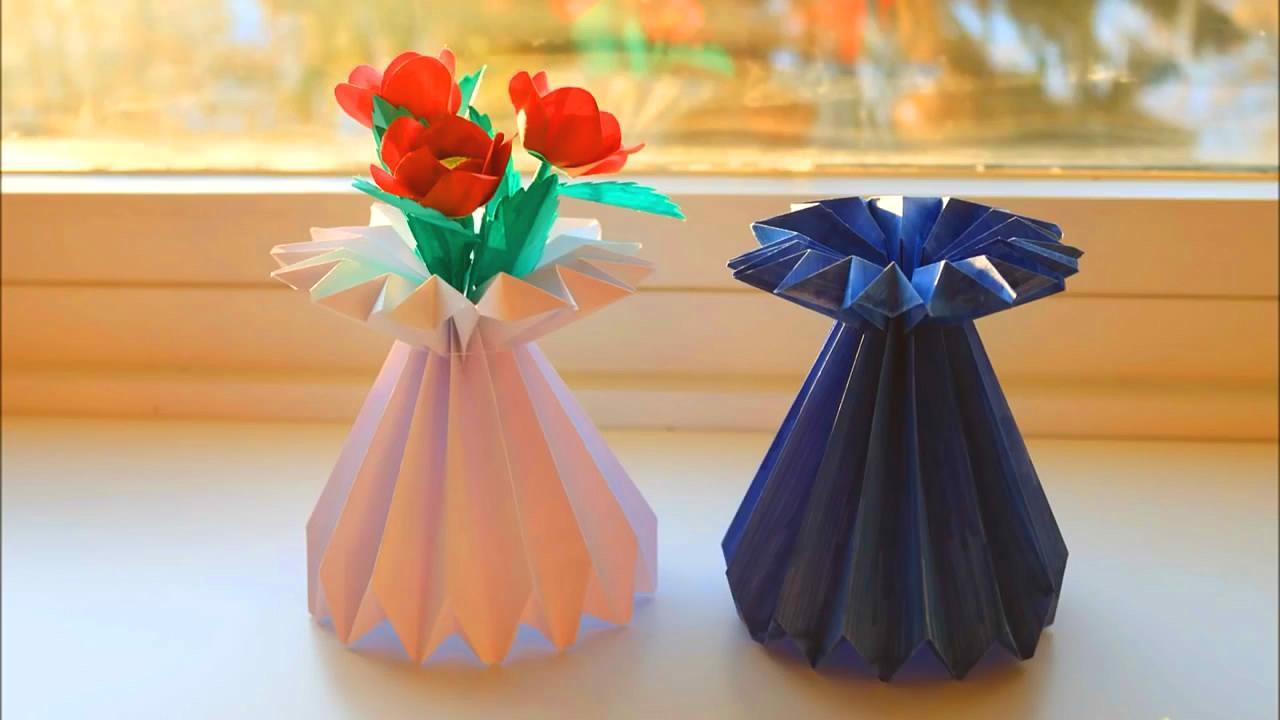 手工折纸diy,用纸张制作花瓶的简单方法,简约实用