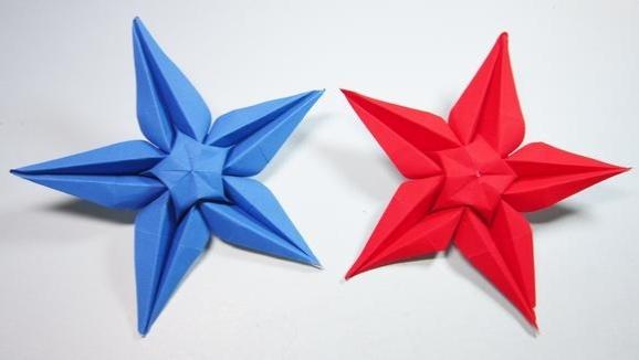 小学生手工简单又漂亮星星花的折法,折纸五角星花