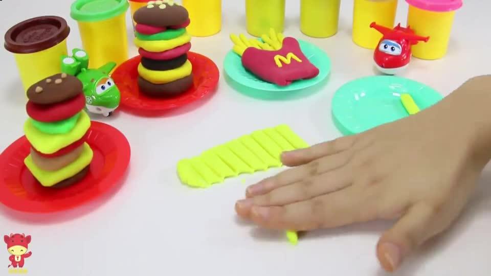 用培乐多橡皮泥玩具制作好吃的麦当劳薯条给超级飞侠吃