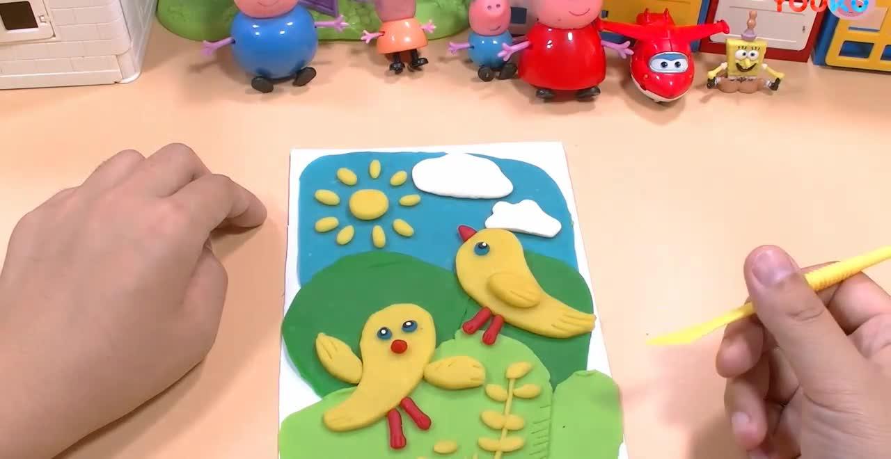 小猪佩奇超级飞侠和海绵宝宝手工制作彩泥小鸡图画
