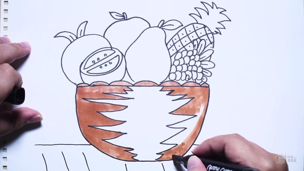 神笔简笔画 美味丰富的水果篮,成人儿童绘画教程卡通动漫线稿