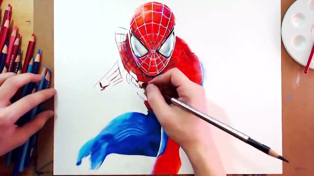 彩铅手绘-蜘蛛侠