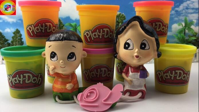 大头儿子玩培乐多彩泥制作金鱼亲子玩具-儿童益智玩具 亲子游戏-.