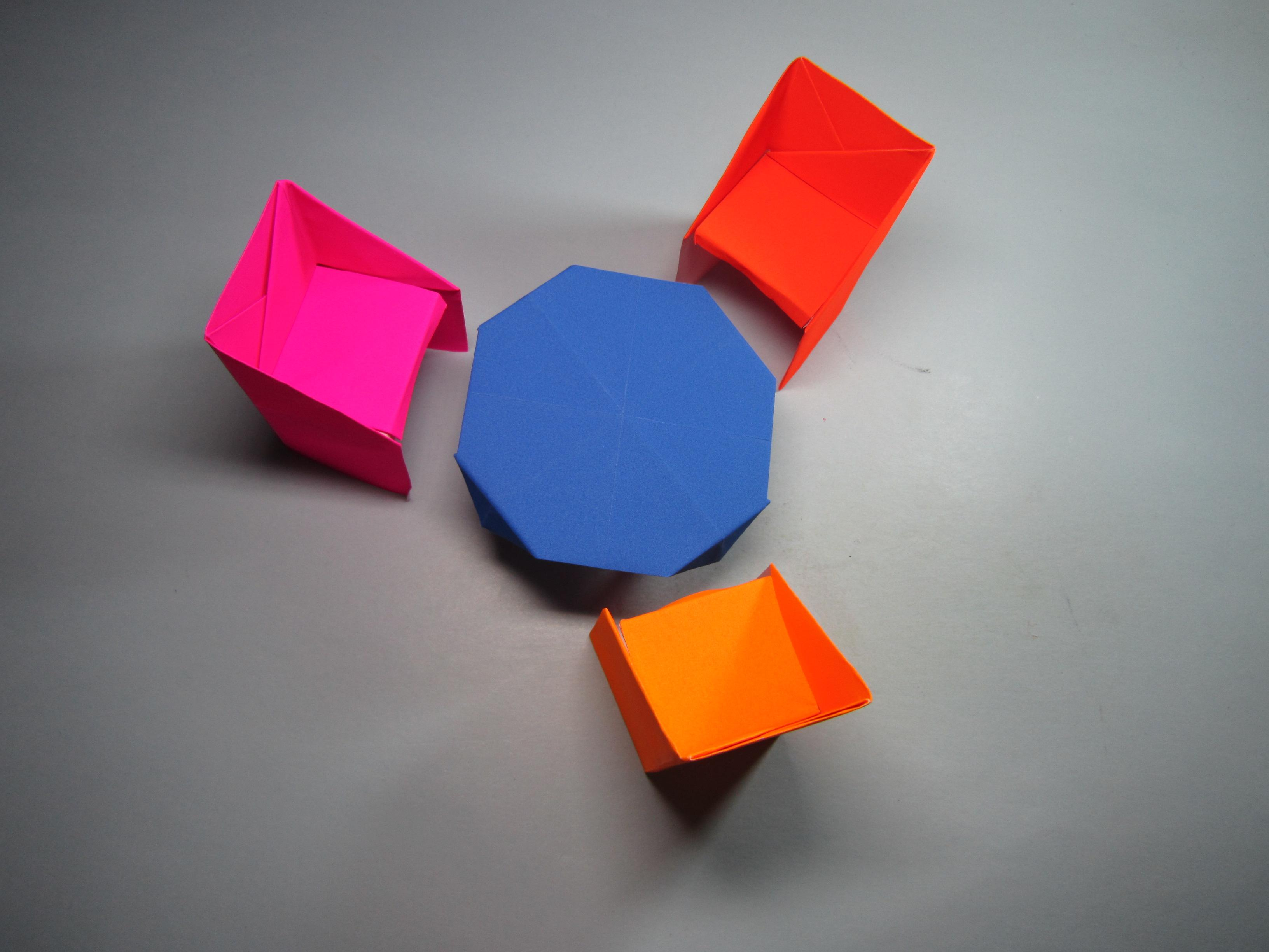 儿童手工折纸家具,简单又漂亮的桌子椅子的折法