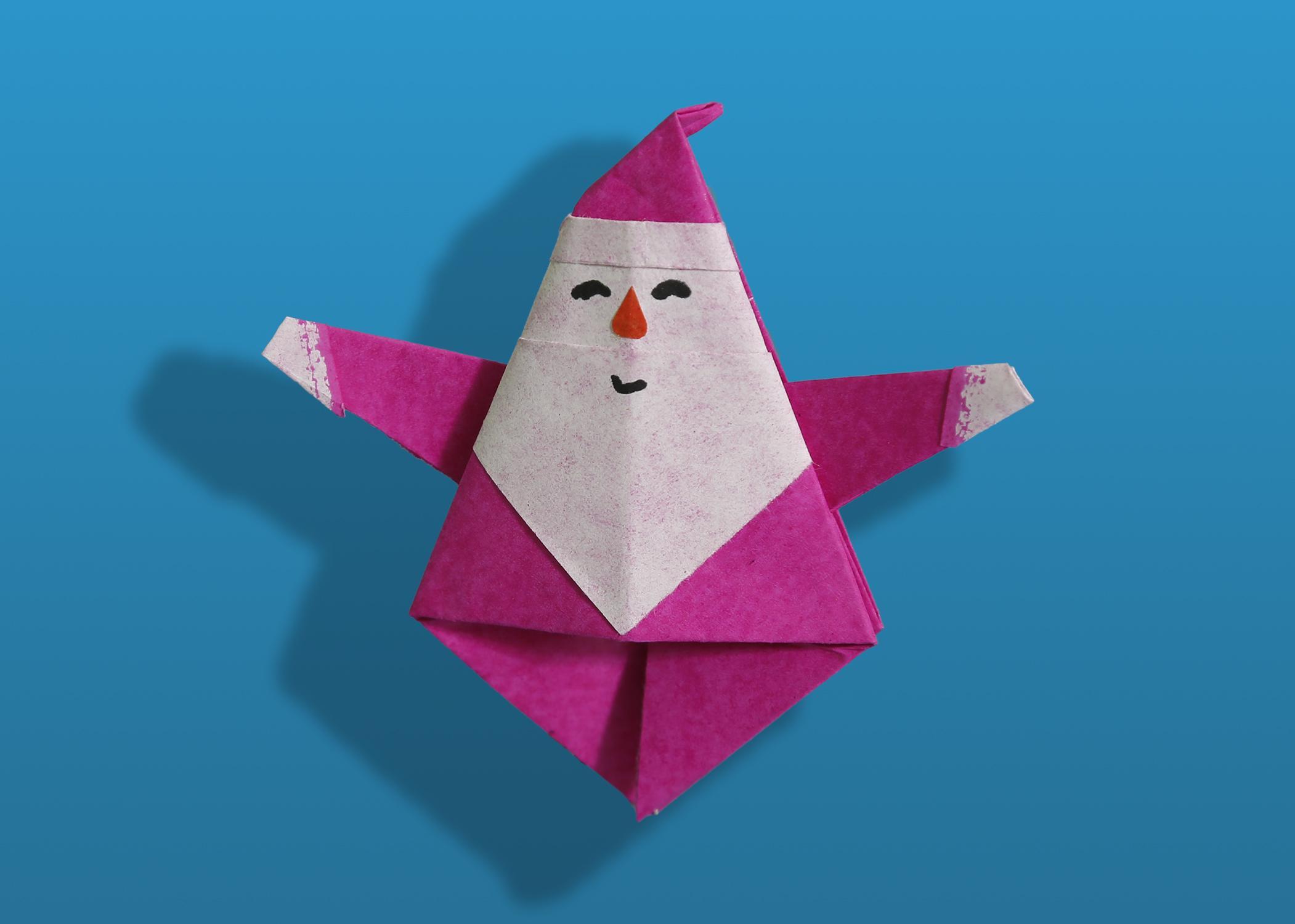 立体圣诞老人折纸方法,亲子立体手工,幼儿园创意手工制作