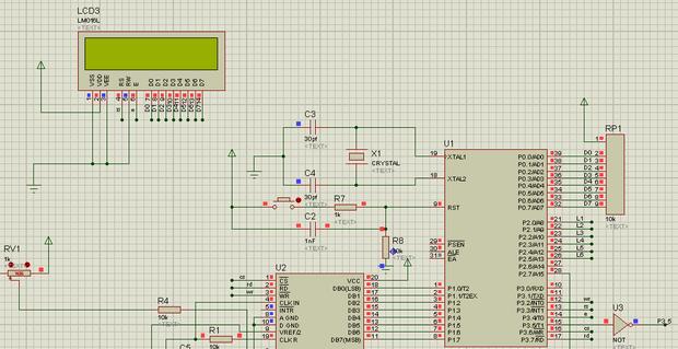 求助,proteus**液晶显示器不显示,电路图如下