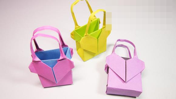 儿童手工折纸包包 简单爱心手提包的折法