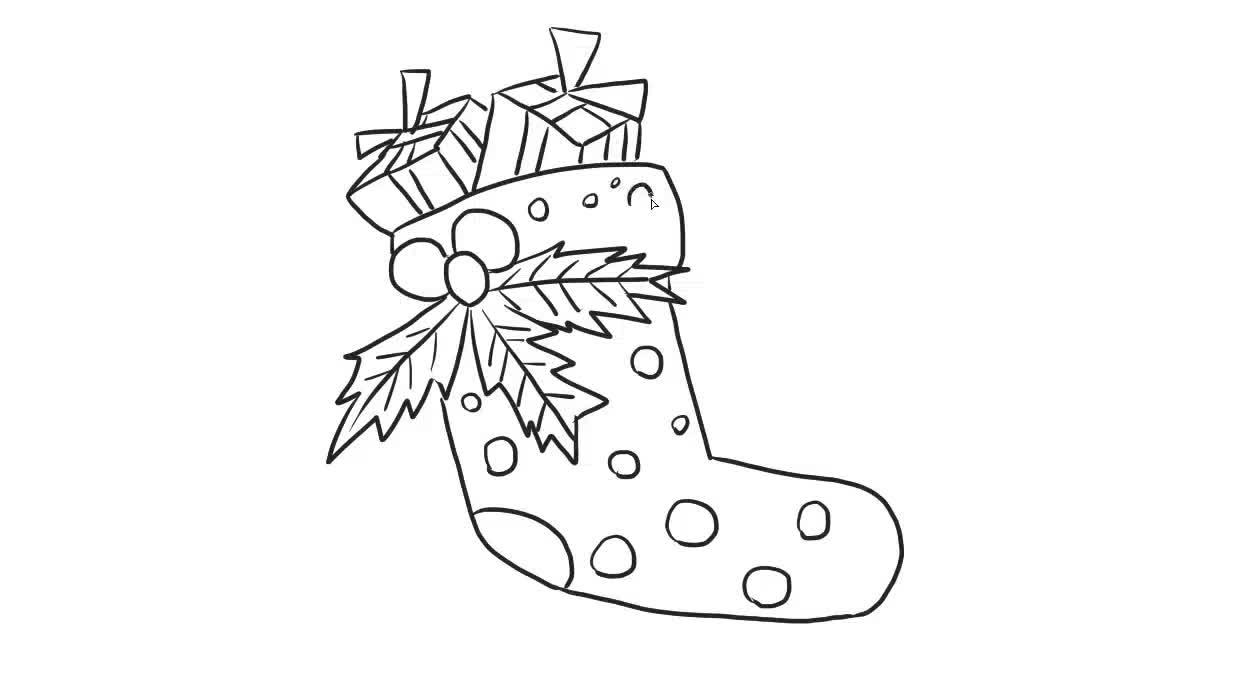 圣诞袜儿童亲子简笔画