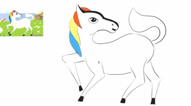 儿童给画动画片《西游记》中的可爱白龙马卡通动漫形象教程-绘心.