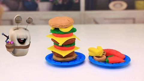 秀:橡皮泥手工制作巨无霸汉堡包
