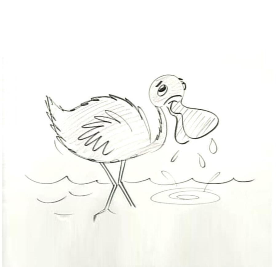 一只卡通的大嘴鸟亲子简笔画教程 宝宝轻松学画画