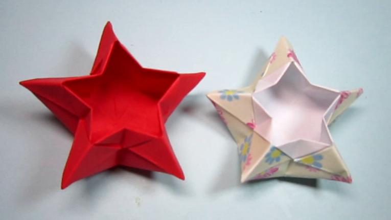 折纸大全简单又漂亮盒子,一张纸折出五角星收纳盒