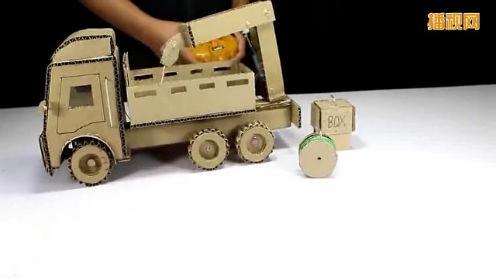 工程车玩具手工制作 汽车起重机搬运大箱子