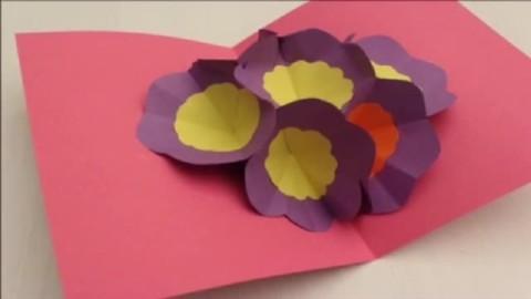 手工制作diy 折纸大全 漂亮花朵立体卡片 折法教程视频