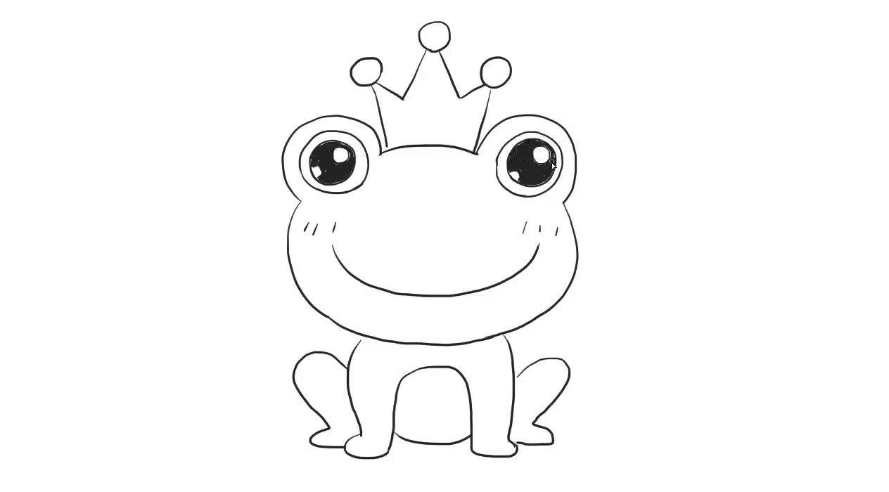 青蛙王子儿童亲子简笔画