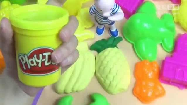 迪斯尼三只小猪diy孩滞新硭巩宝培乐多彩泥黏土做城堡水果动物.