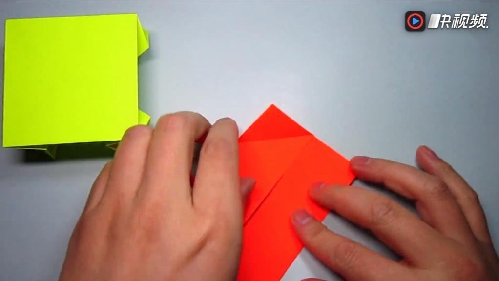 儿童手工折纸桌子,简单四角方桌的折法视频