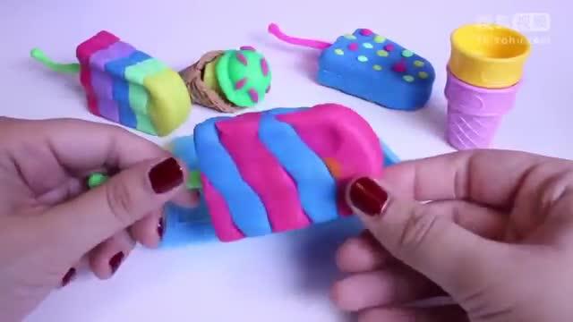 彩泥粘土橡皮泥手工制作冰淇淋雪糕教程视频