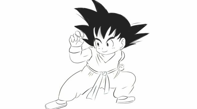 [小林简笔画]绘画动画片《七龙珠》中孙悟空卡通动漫形象简笔画.