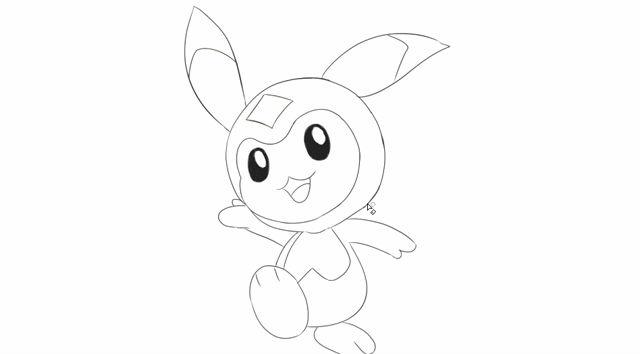 [小林简笔画]绘画游戏赛尔号中的萌宠米咔卡通动漫简笔画教程