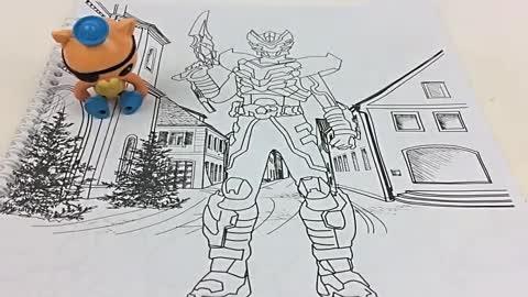 乐天玩具:水彩画画图涂颜色:巴克队长涂铠甲勇士水彩画玩具