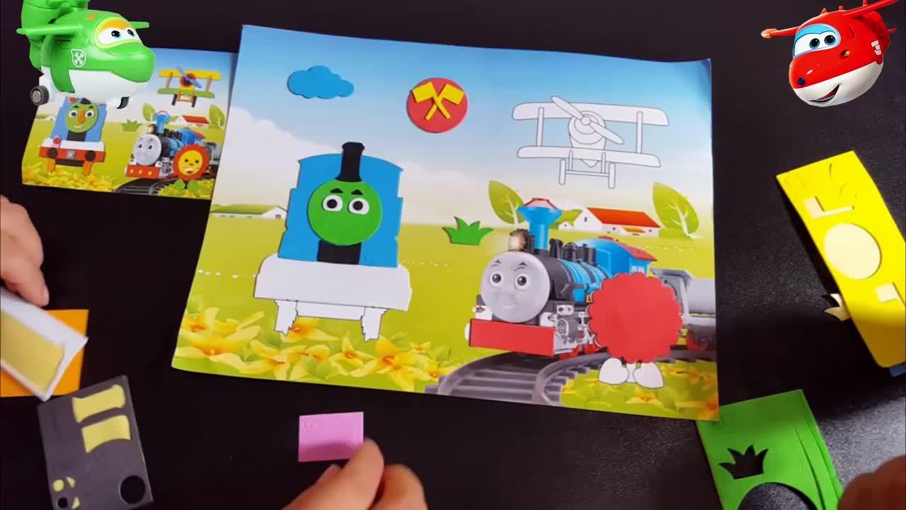 3442奥特曼乐迪亲子儿童手工制作托马斯小火车3d立体贴画
