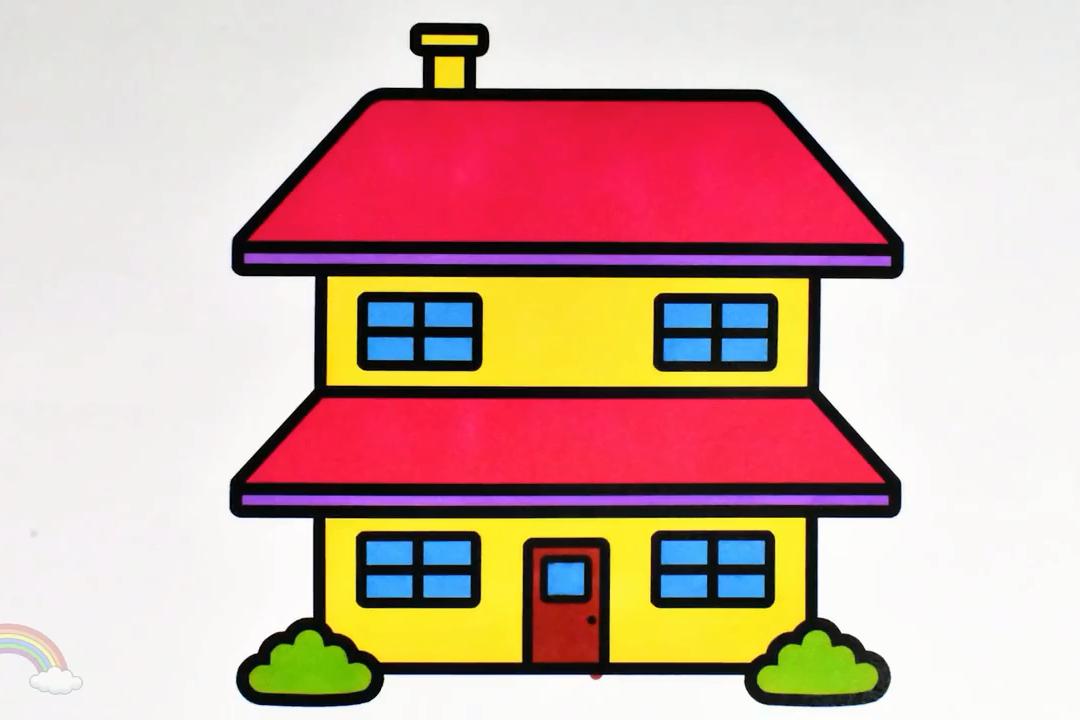 幼儿房子简笔画,水彩笔画一座简笔画三层小别墅和色彩搭配方法