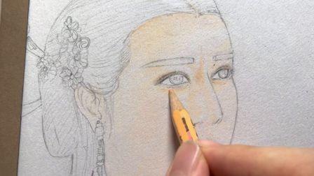 彩铅手绘 丽姬传 迪丽热巴饰公孙丽 部分过程视频2