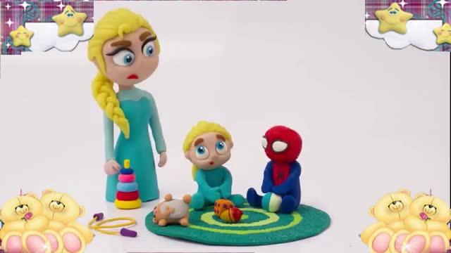 橡皮泥服装比赛 蜘蛛侠与艾尔莎公主