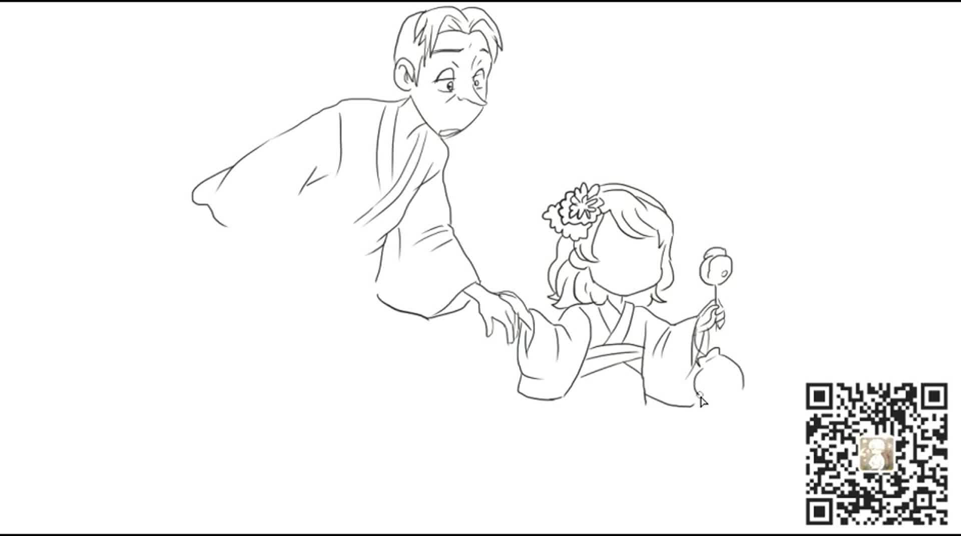 [小林画的]可爱的小公主苏菲亚与魔法师赛克逛庙会卡通线稿简笔画