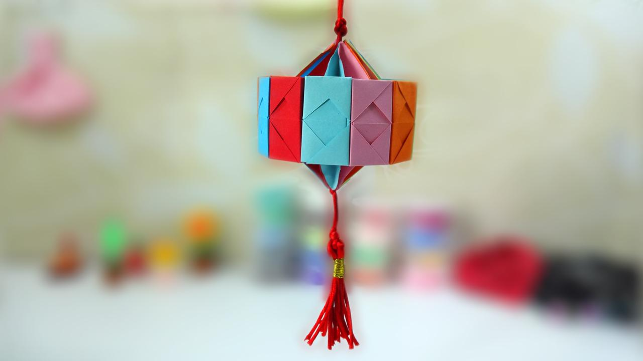 教你制作超简单漂亮的纸灯笼-折纸王国-v视宝贝