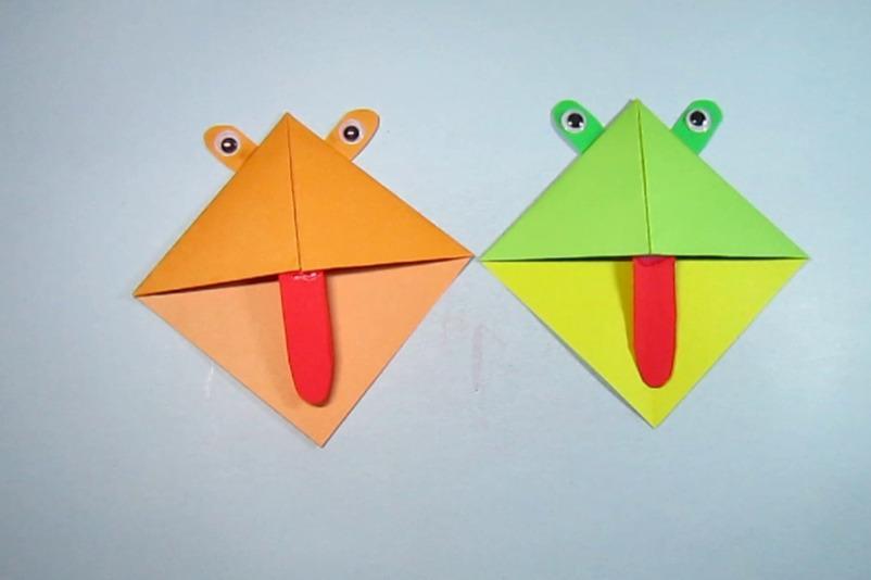 视频:创意diy儿童手工折纸书签,2分钟就能折出漂亮的青蛙书签