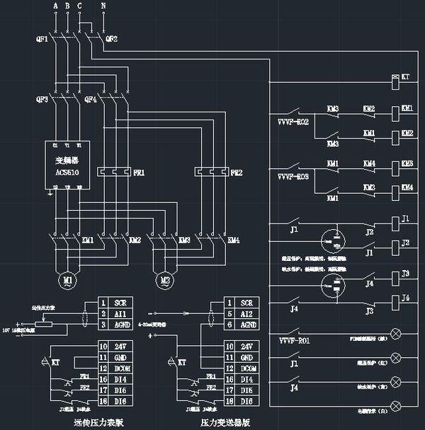 "a** acs510变频器pid恒压供水""一拖二的电路图,调试参数哪位朋友可以"