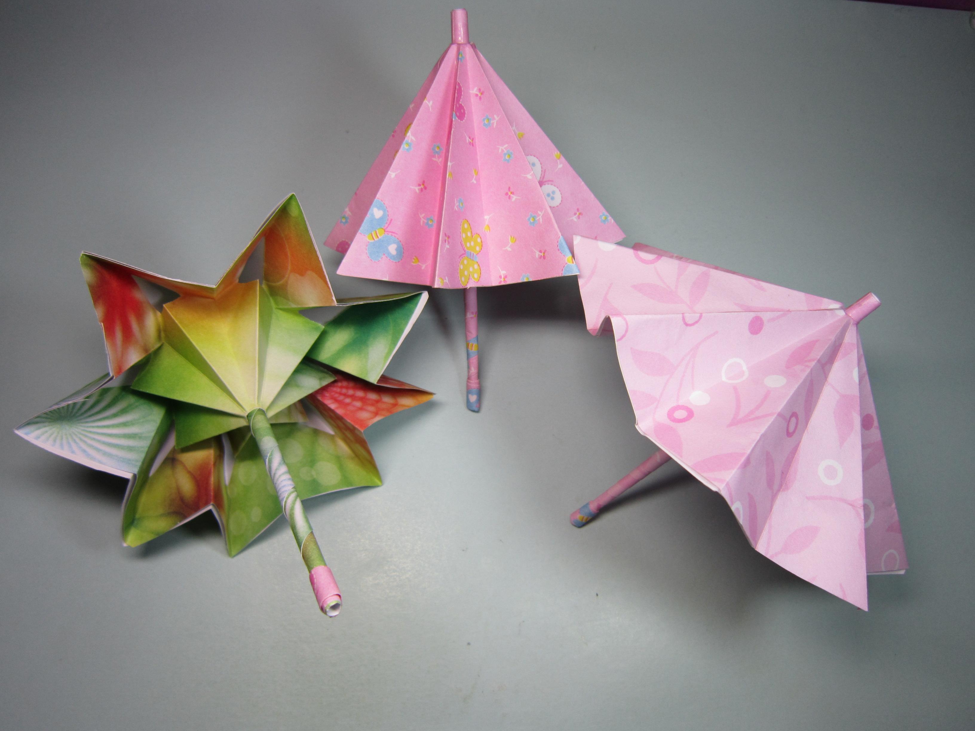 可收缩的雨伞折纸原来这么简单,几分钟就能学会,小雨伞的折法