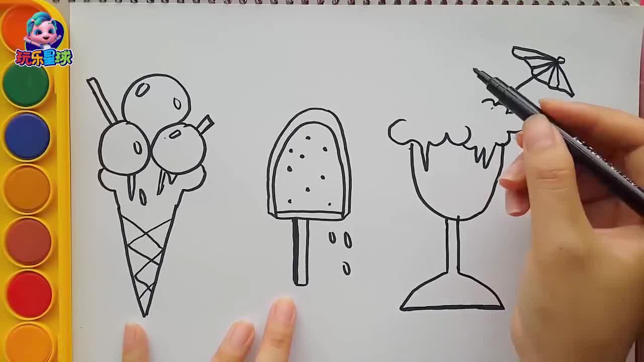 宝妈育儿画画视频:宝宝学画冰淇淋蛋筒