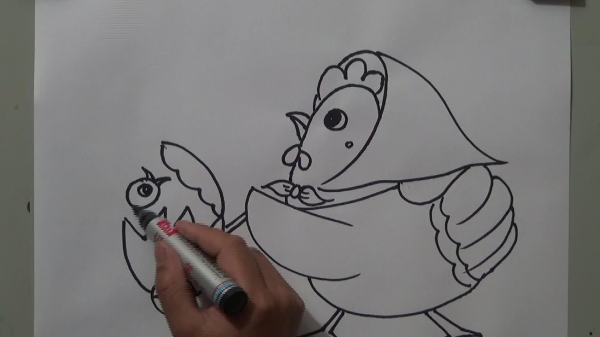 月亮姐姐简笔画鸡的画法