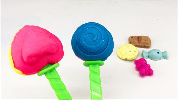 彩泥橡皮泥粘土手工制作糖果棒棒糖